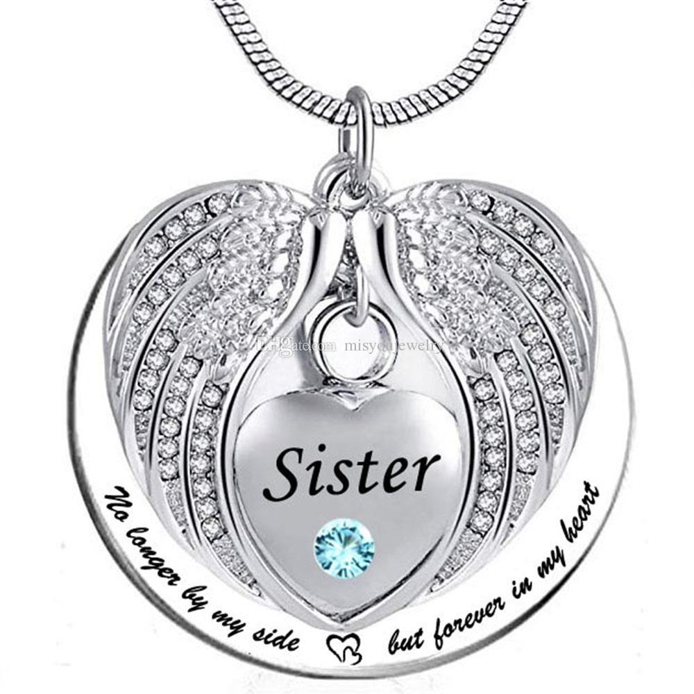 sister Angel Wing Urn Necklace for Ashes, Heart Cremation Memorial Keepsake Pendant Necklace Jewelry with Fill Kit and Gift