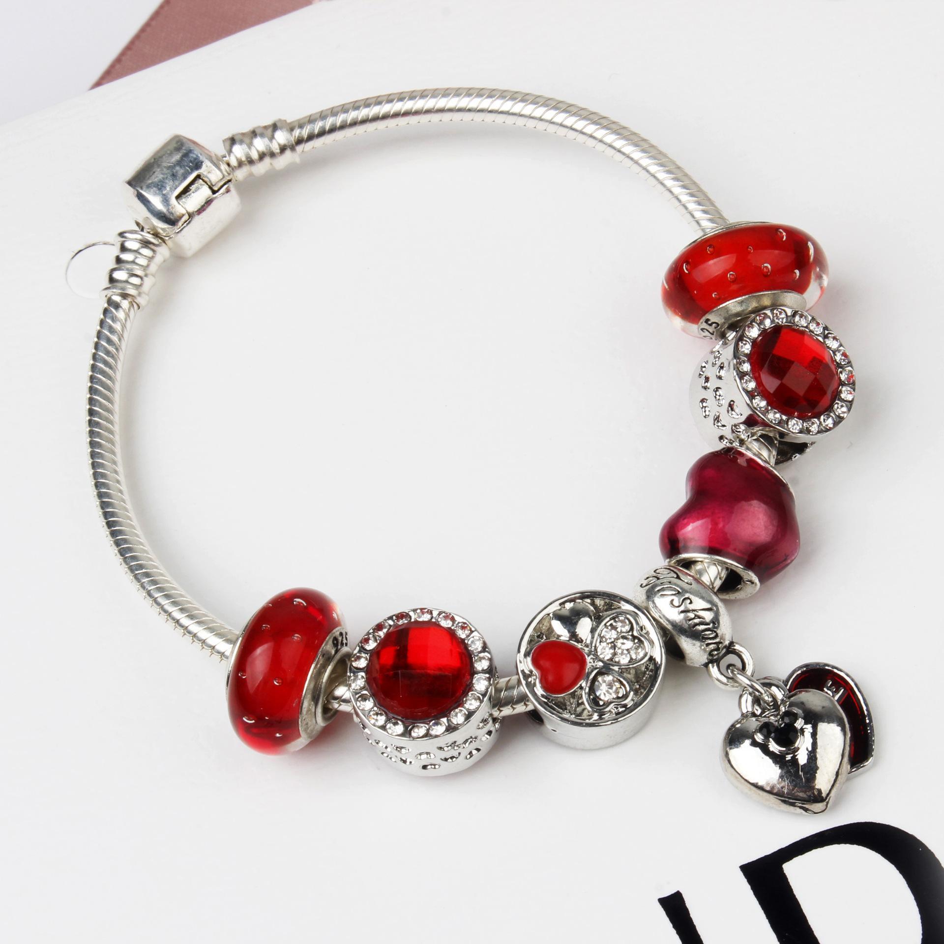 Perles en gros-925 Murano Glass Charm Bracelet rouge pour les femmes / enfant Bijoux originaux bricolage Style Pandora bijoux cadeau de Noël