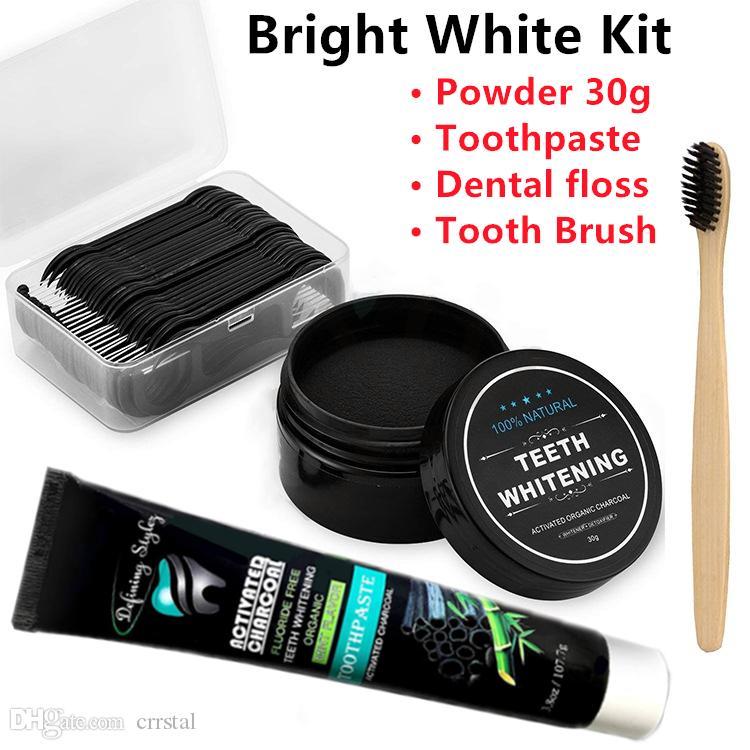 100٪ المنشط العضوية الطبيعية الفحم تبييض الأسنان مسحوق Toothpashe مجموعة إزالة دخان القهوة والشاي الأصفر البقع رائحة الفم الكريهة عن طريق الفم العناية كيت