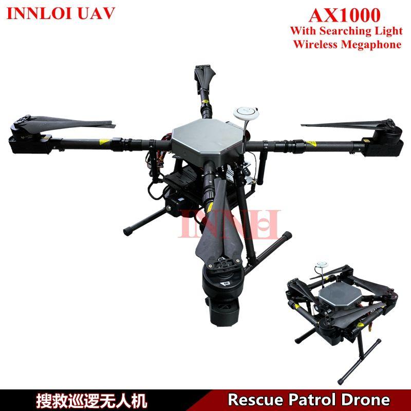 INNLOI UAV DIY multi rotor drone long vol Rescue Patrol Drone avec la recherche de lumière sans fil Mégaphone Accessoires décollage poids 15 kg
