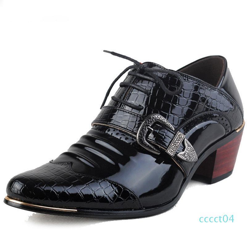 Горячая распродажа-роскошные мужские вечерние туфли на высоком каблуке деловые туфли мужские оксфорды Острый носок Оксфордская обувь для мужчин свадебная кожаная обувь ct4
