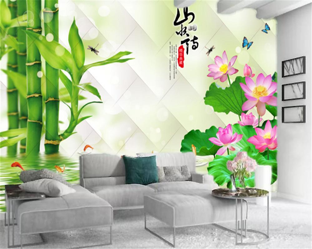 3D 홈 배경 화면 섬세한 로터스와 그린 대나무 디지털 인쇄 HD 장식 아름다운 배경 화면의 아름다운 풍경