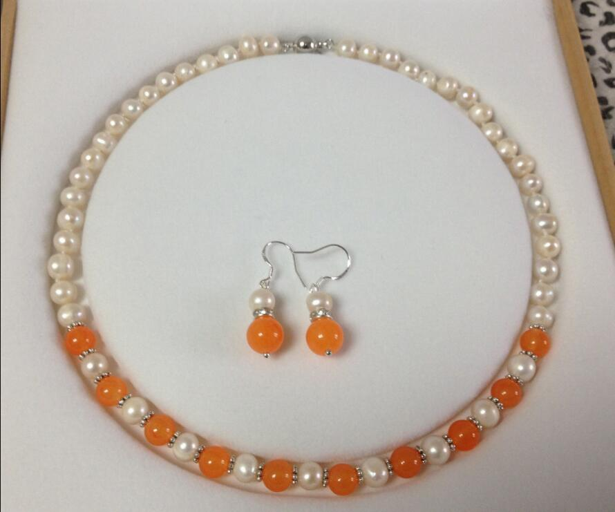 """jewelry 7-8MM White Akoya Cultured Pearl/Orange Jade necklace earrings set 18""""No box A02"""
