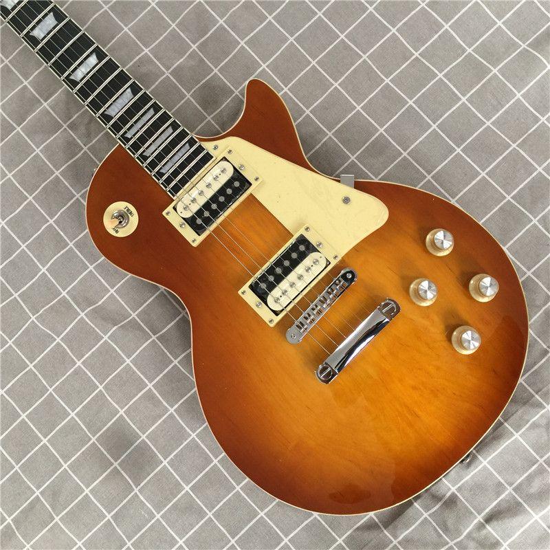Ücretsiz Teslimat Tek Parça Boyun Tek Parça Vücut Elektro Gitar, Tune-O-Matik Köprü Gitar Akçaağaç En İyi Gitar Yükseltme