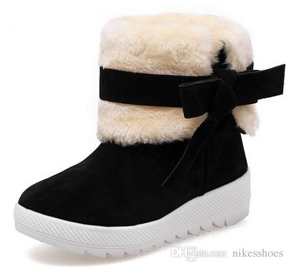 Acheter Chaussures Hiver 2019 Pour Femmes Poilues Portant Des Bottes De Neige Et Des Bottes Plates Chaudes En Velours De $51.25 Du Nikesshoes  