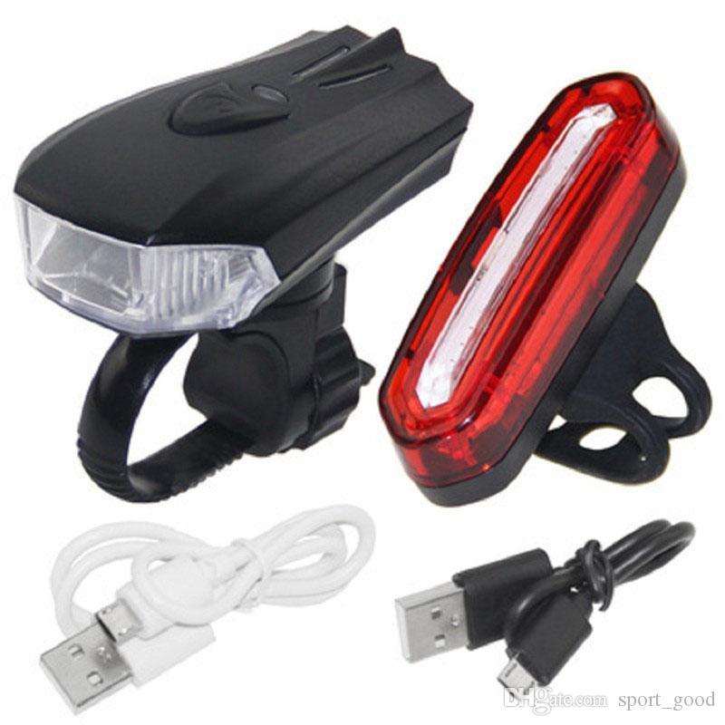 Bike Light Set Frente E Segurança Luz traseira USB Recarga Luz com braçadeira Padrão Inteligent Senor equitação Lamp