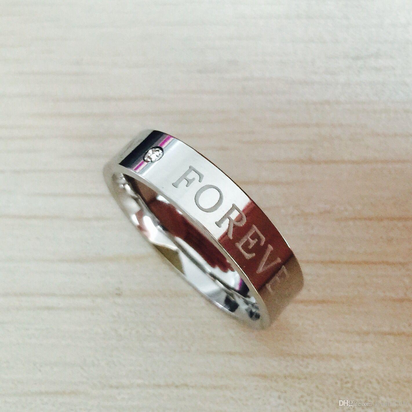 Amanti della lettera di fidanzamento in acciaio inossidabile 316L, promessa FELICE PER SEMPRE Coppia anelli per uomo e donna USA 6-14