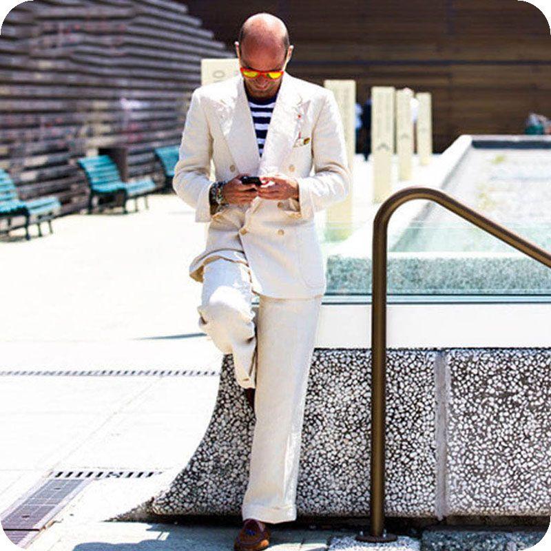 Latest Coat Pant Design Linen Ivory Men Suits for Wedding Casual Groom Tuxedos Smart Men Blazer Two pieces Summer Beach Bridegroom Jacket