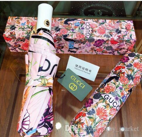 Nova chegada Moda Sunshade Umbrella por Mulheres Lady protetor solar guarda-chuva com pássaros Cópia da flor Proteção UV guarda-chuva dobrável
