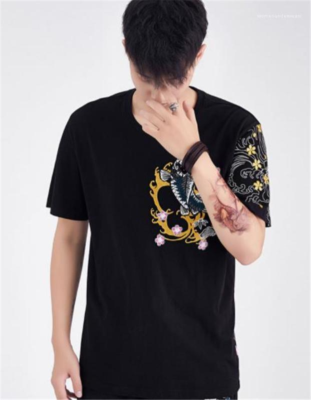 Designer Tshirts Fashion Carp Embroidery Panelled Short Sleeve Mens Tees Casual Males Clothing Fish Print Mens