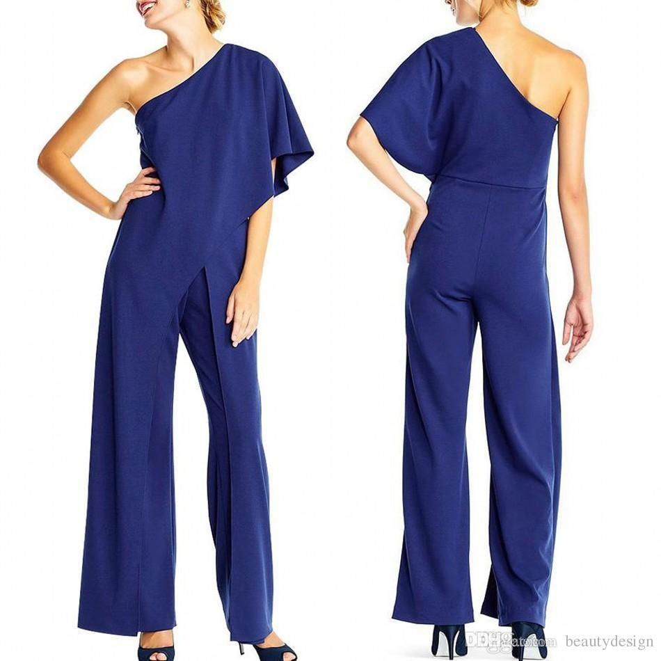 Женская Адрианна Папелл креп одно плечо комбинезоны черный элегантный комбинезон высокой талией ползунки одно плечо полная длина повседневные брюки FS4339
