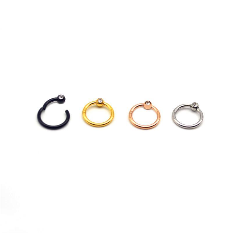 Откидного сегмент кольца нос кольца Перегородка обруч соски Clicker уха хрящ козелка Helix Lip пирсинг 16g розовое золото 316 S