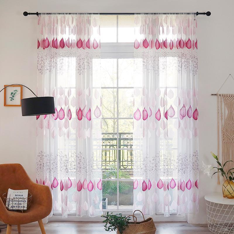 Home Decor Druck Duschvorhang für Badezimmer Modernen Blatt gedruckt Perforieren Tüll Vorhang Schlafzimmer-Fenster-Bildschirm