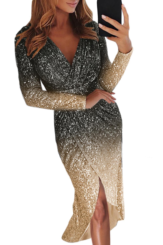 Дорогой любовник 2020 Бесплатная доставка Женская одежда в наличии на складе оптом черный омбре блесток обернутый рюшами нерегулярное платье