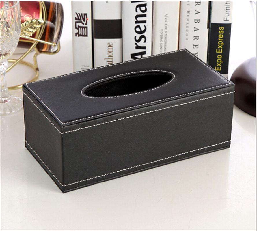 Black Lether Plastic Tissue Box Paper Holder Dispenser Organizer Home Room Car