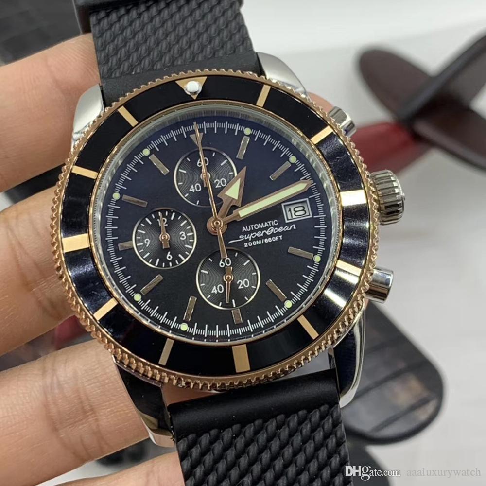 Estilo clásico de 660 pies Superocean 47MM Movimiento de cuarzo de la batería precisa para hombre Relojes Negro Dial caja del reloj de oro con tres sub-esferas de trabajo