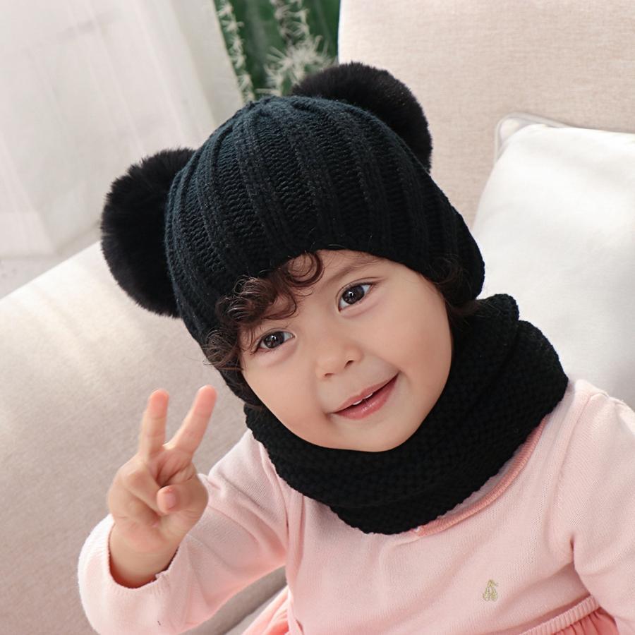 Дети Knit Hat шарф Set Мода зимние Pom Pom вязаные шапочки Шляпы Женщина вязания шарфов Открытый Теплый Лыжный Caps TTA1827
