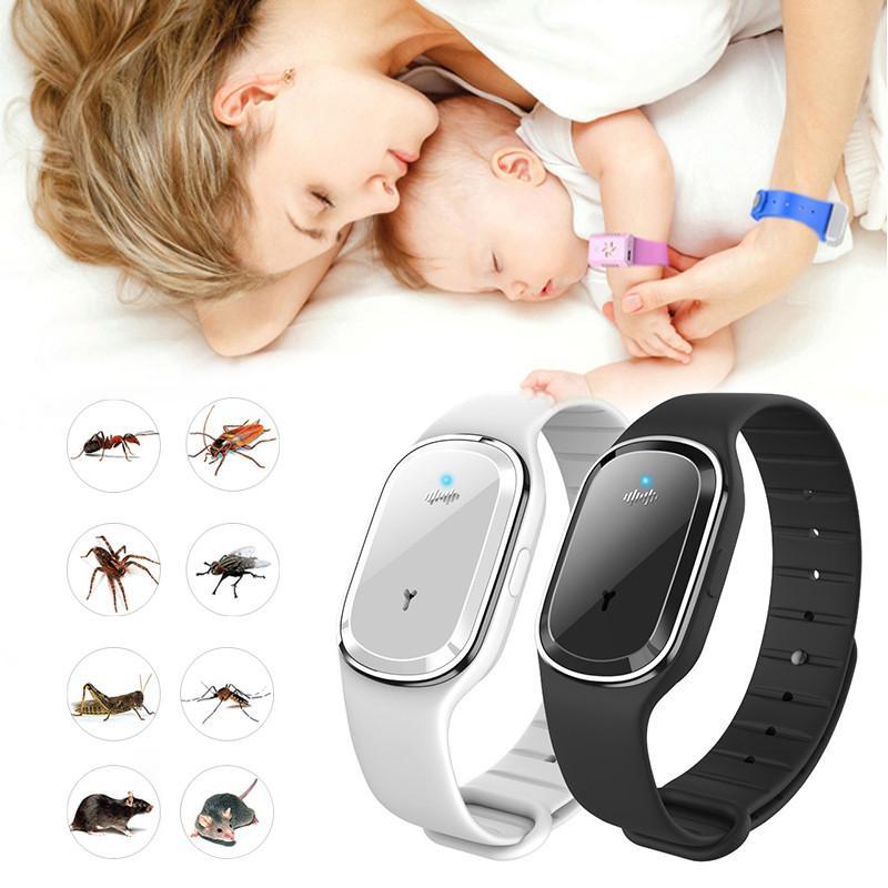 Ultrasonic Natural Mosquito pulseira repelente impermeáveis erros praga Anti Mosquito Insect pulseira relógio ultra-som ao ar livre Crianças