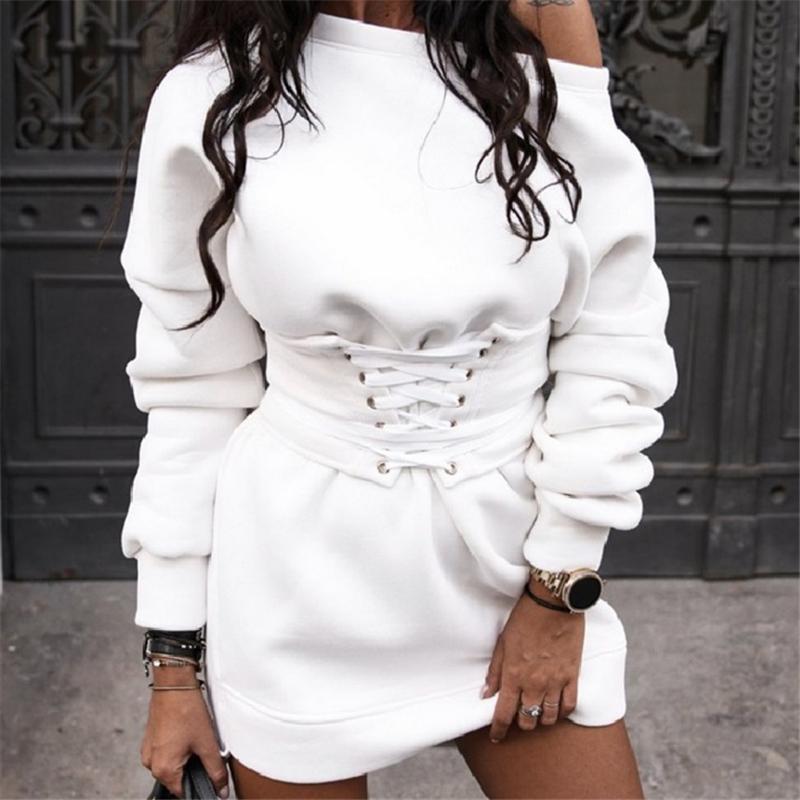 Женщины Толстовок платья Длинной Толстовка Streetwear мода с длинным рукавом Толстовка Корейского пуловер с руном 2020