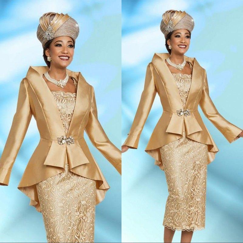 플러스 사이즈 2 조각 신부 드레스의 골드 어머니 재킷 2020 우아한 차 길이 긴 소매 빈티지 공식 이브닝 가운