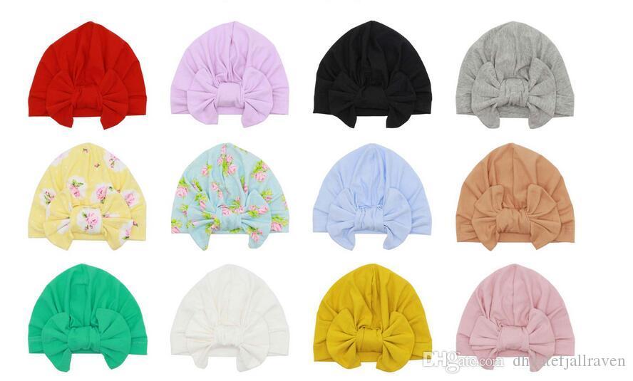 Europa und die Vereinigten Staaten Baby Products Baumwolle mit Kapuze Hut Kind-Knoten-Hut Indian Turban Hat Dual Purpose Bow Removable Cap Outlet