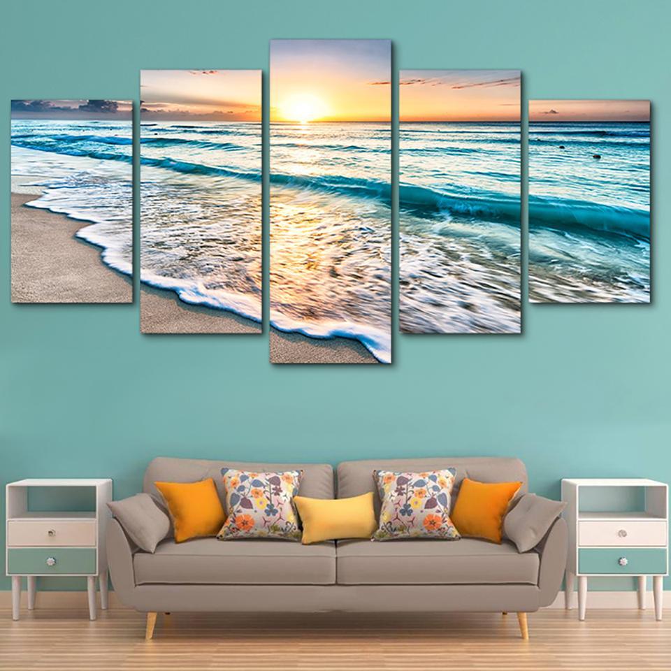 Tableau Wall Art HD Print Dipinti modulari Poster quadri su tela 5 Onde pannello sulla spiaggia al tramonto Paesaggio marino Home Decor Moderna
