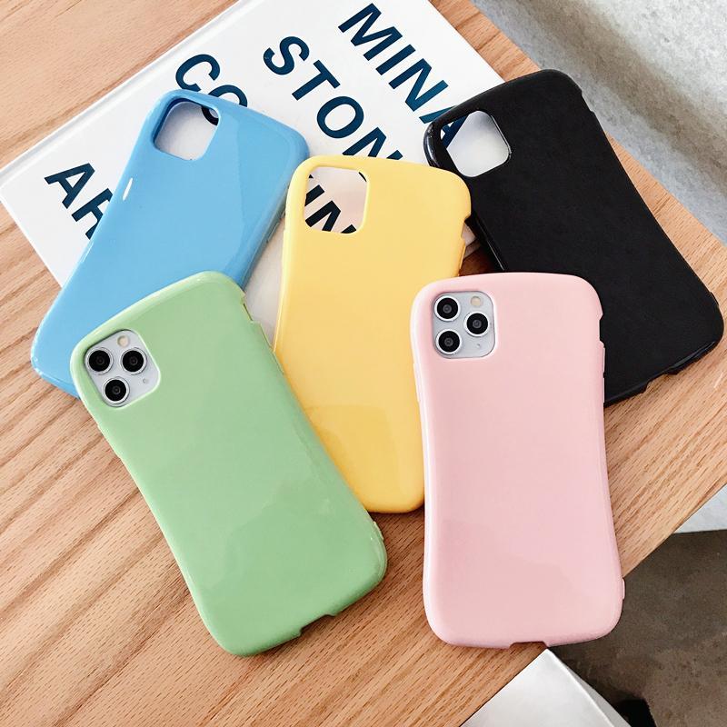 Parlak Sıska Şekli Düz Renk Cep Telefonu Kılıfı için iphone 11 pro max 7 8 artı x xr
