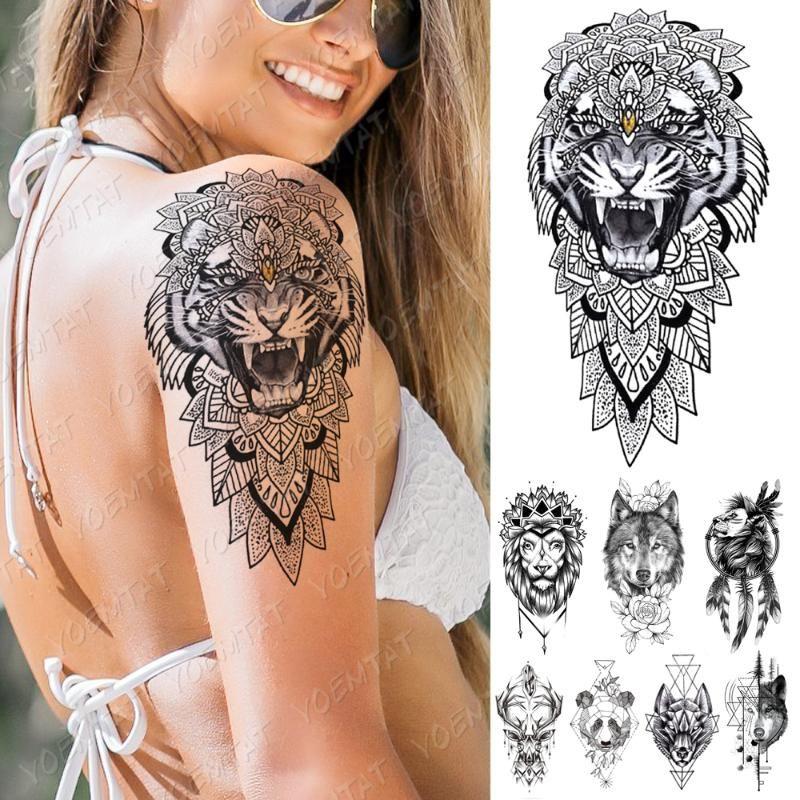 Impermeável Tatuagem Temporária adesivo Tiger Lobo Lion Flores flash Tattoos Linha Panda Braço Corpo Arte Falso Manga Tatoo Mulheres Homens