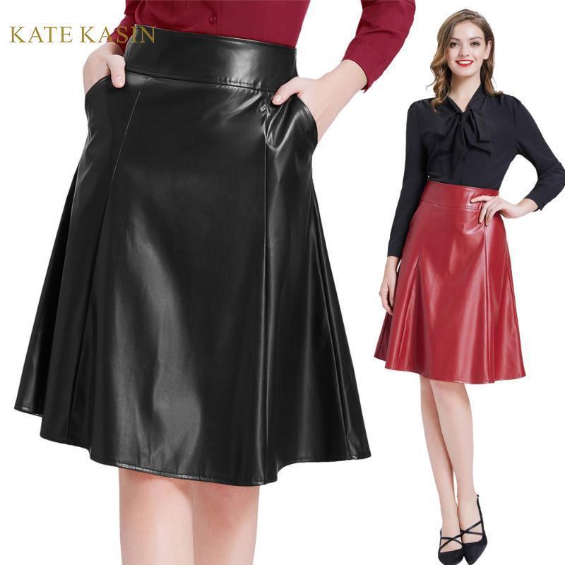 Kate Kasin Mulheres Faux Couro Saia Com Bolsos Flared A-Line Saias Senhoras Vintage Back Zipper Preto / Vermelho PU Couro Midi Saia
