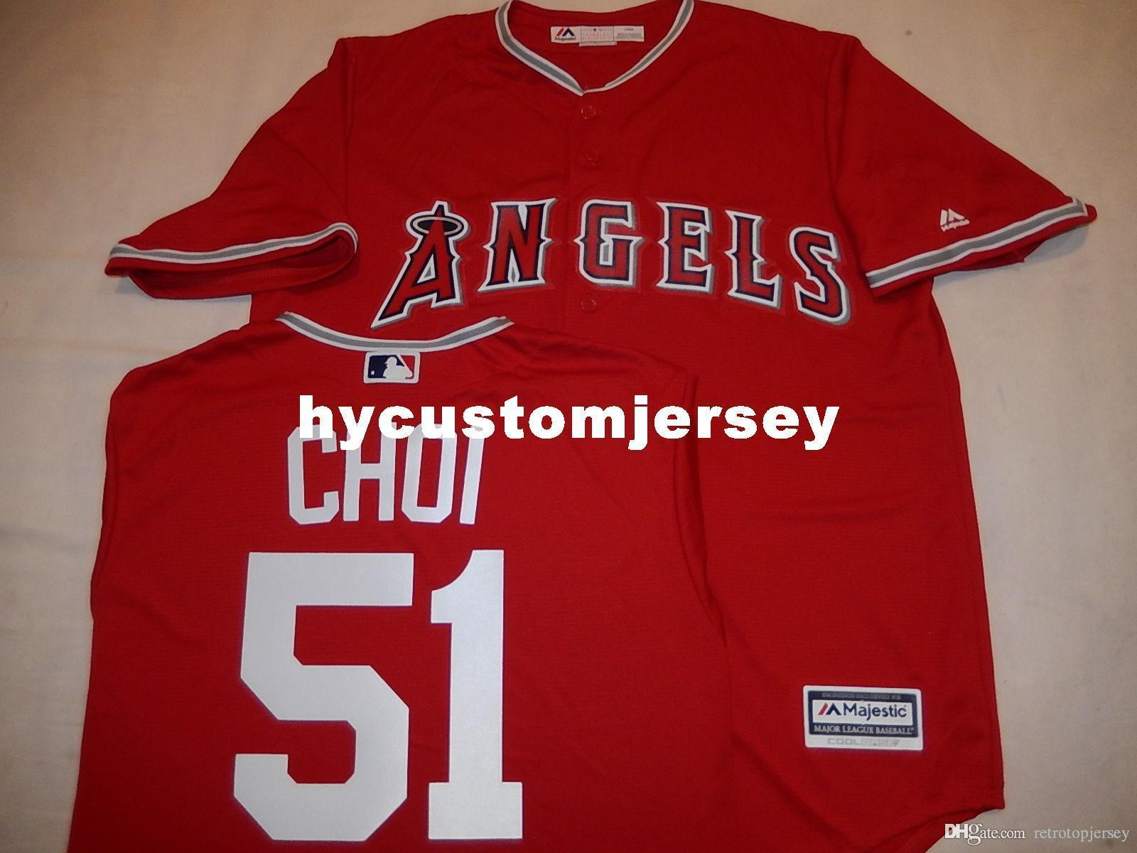 """Cheap personalizzato MAJESTIC Anaheim # 51 JI-MAN CHOI """"basso freddo"""" Baseball maglia rossa Mens cucita maglie grande e grosso formato XS-6XL In vendita"""