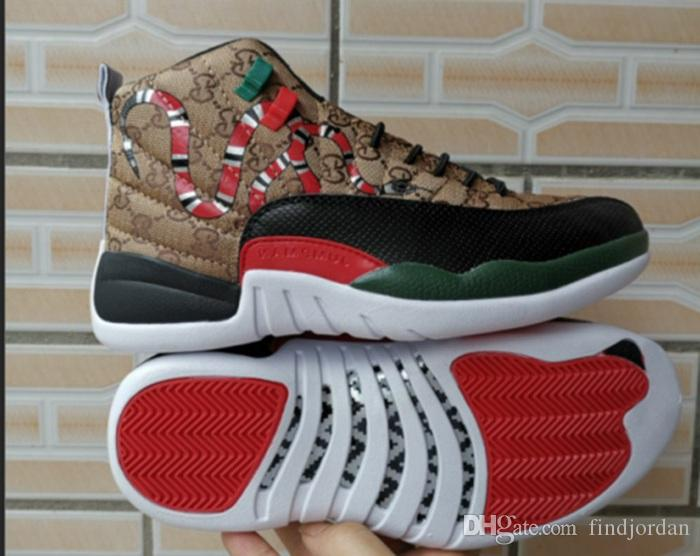 12 GS Generation der Schlange Black Brown Red Männer Basketball-Schuhe neuen Stil 12s Herren Schlangenleder Multicolor Sport Designer Turnschuhe mit Box