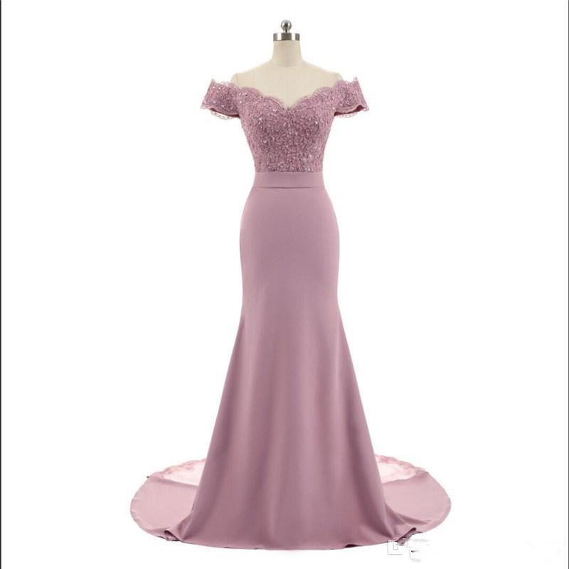Nouvelle arrivée Rose col en V à mancherons Dentelle vintage de demoiselle d'honneur sirène Appliques perles Parti robes Robes De Festa Vestido