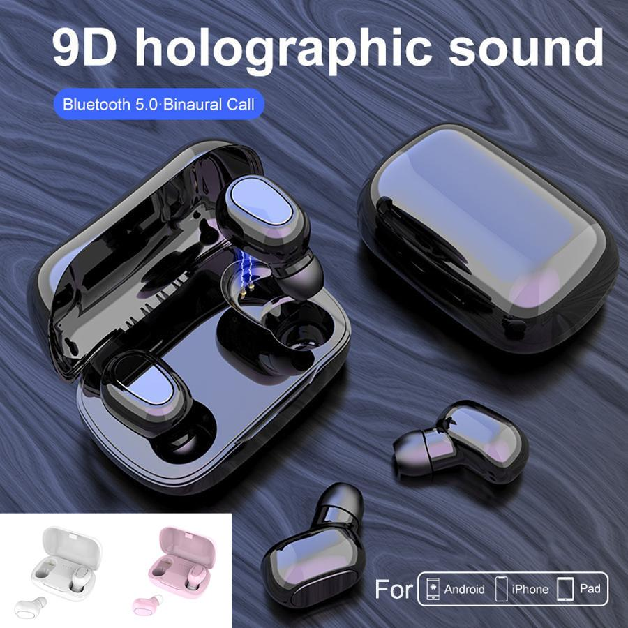 L21 Wireless Earphones Bluetooth 5.0 Earbuds Mini TWS Sports Stereo Headset With Microphone Noise Cancelling Charging Box for Cell phone