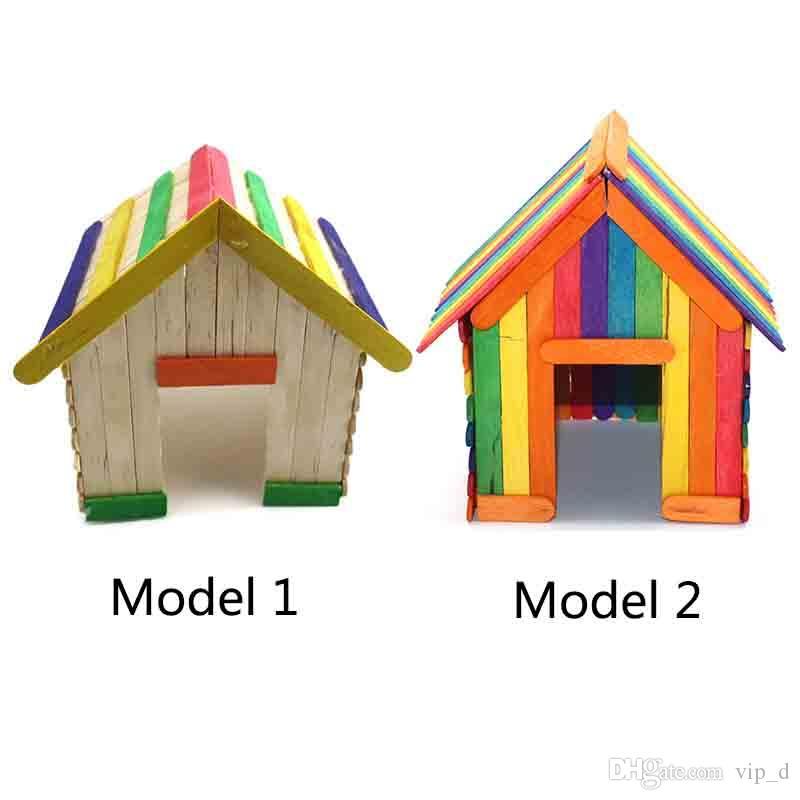 Großhandel Kreative Holz DIY Natürliche Bunte Eiscreme Holzschläger Spiel-Stock-Kinderhandgemachte Haus Spielzeug Lebensmittel DIY Materialien