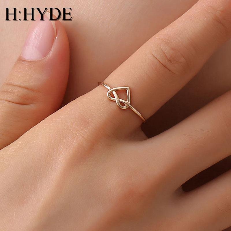H: HYDE Hochzeit Herz Rose Gold Farbe Ringe, Verlobungs Schwarz Farbe Edelstahl-geöffneter Ring Mode Bijoux für Frauen Schmuck