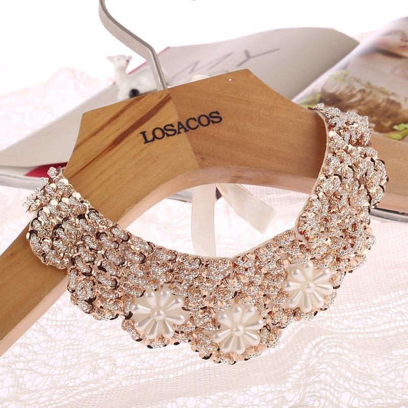 Мода 70см Новая мода популярны поддельные воротник колье ожерелье Sequined бусы женщины ожерелье заявление