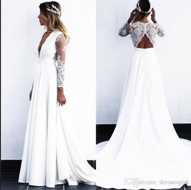 Sexy Deep V Neck A Line Wedding Dresses Sheer Long Sleeve Lace Applique Hole Cut Back Bridal Gowns robe de mariee