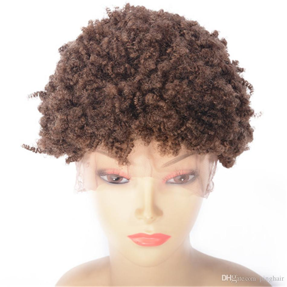 Brazilian Lace Front Wigs Afro Kinky Curly Human Hair Wigs for Black Women 27# Glueless Lace Wig