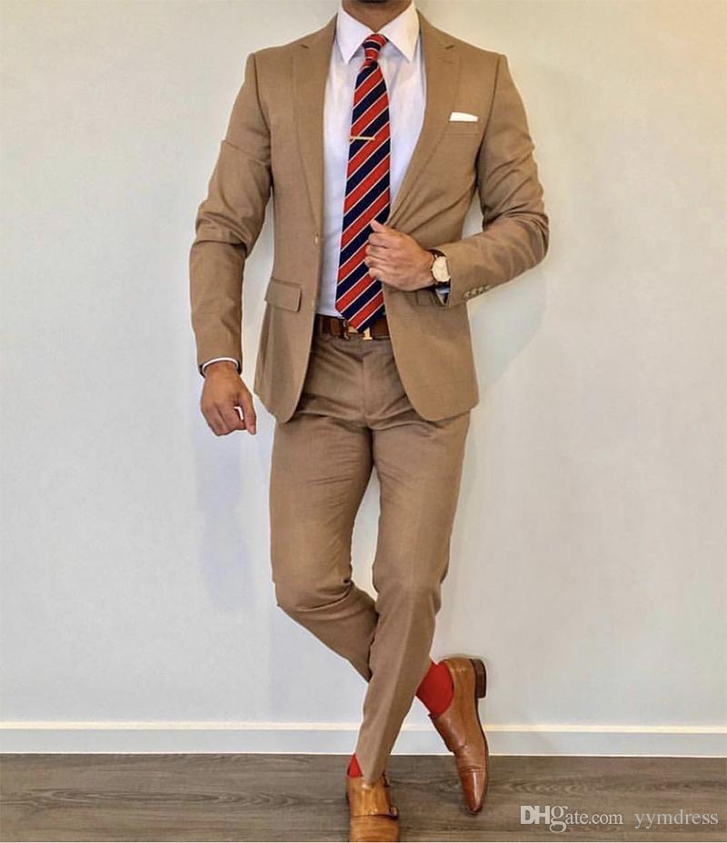 Hot Sale Brown WeddingTuxedos 2019 Notche Lapel Slim Fit Back Vent Groomsmen Mens Suits 2 Piece Suit(Jacket+Pants +Tie) 0876