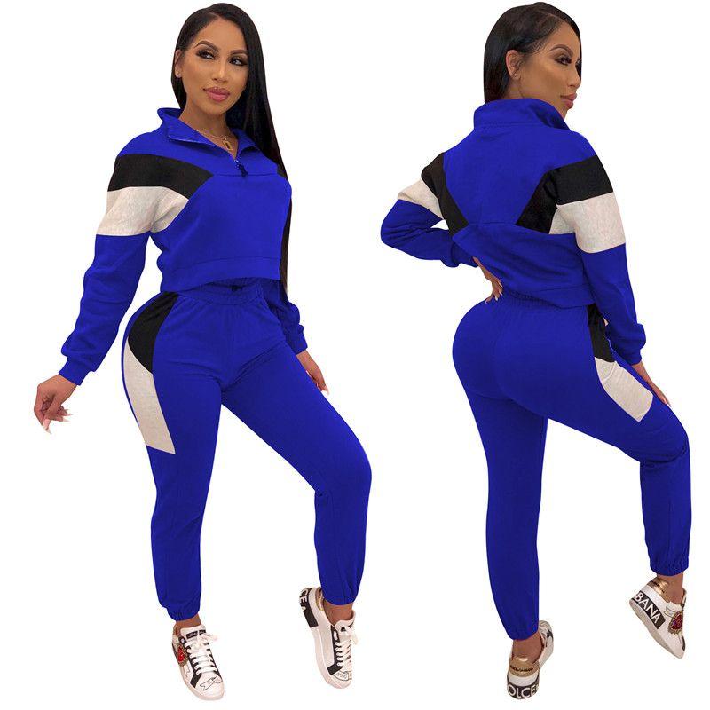Bayan Tasarımcı Eşofman 2 Parça Pantolon Ince Uzun Kollu Standı Yaka Spor Setleri Sonbahar Rahat Panelli Kadın Moda Takım Elbise