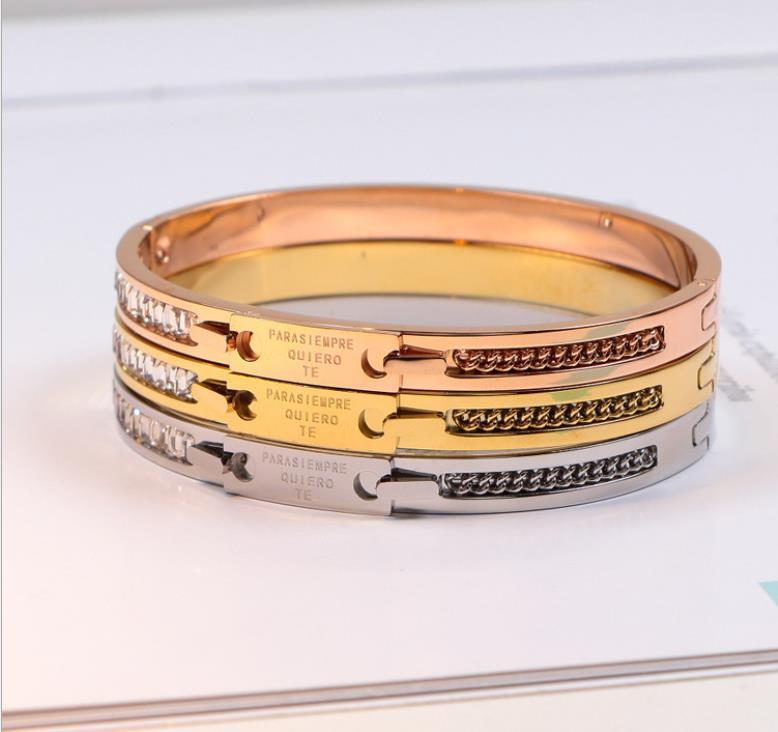 Korean version digital diamond bracelet female titanium steel letter bracelet