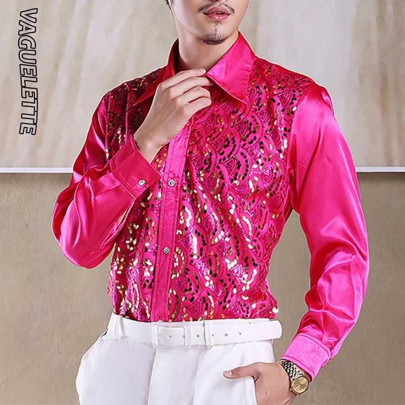 VAGUELETTE قمصان فاخرة الترتر الكشكشة سهرة للرجال الأحمر / الوردي زفاف المرحلة الملابس FormalCasual القميص الرجال كم طويل S-L