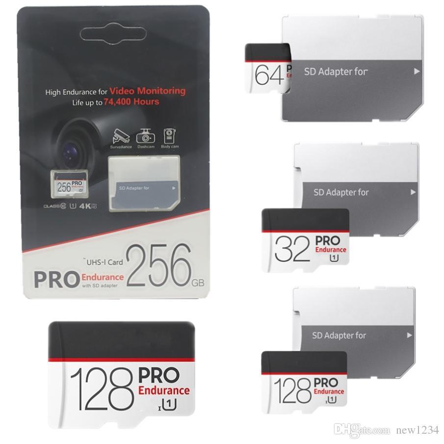 2020 micro SD-Karte Schwarz hohe Ausdauer für Videoüberwachung Klasse 10 PRO 256 GB-32 GB Speicherkarte 4 Karat SD Adapter Einzelhandel