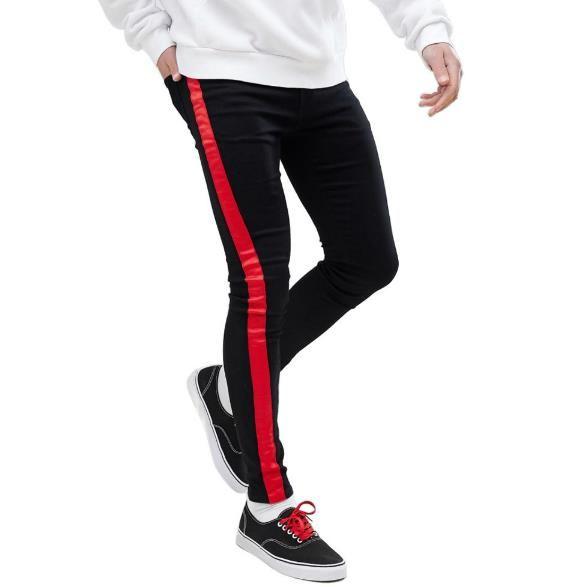 Black rayé Hommes Designer Jeans Vêtements pour hommes Printemps Automne Slim Fit Rue Pantalons Jean Homme Crayon
