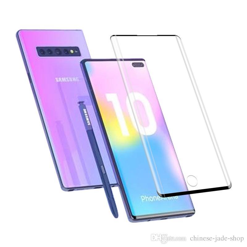 3D Изогнутые Закаленное Стекло-Экран Протектор Края Клей для Samsung Galaxy Note 10 10 Pro Case Дружественный Отпечаток Пальца Разблокировать 100 шт. / Лот нет в розницу