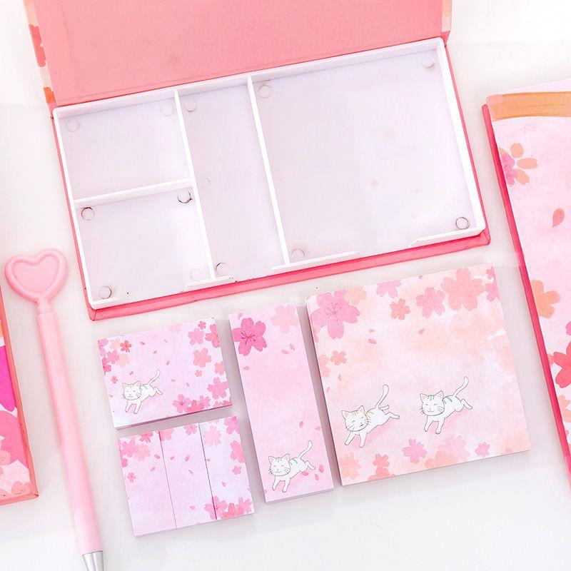 Muchachas del corazón Cherry Cat Sticky Notes Combinación Conjunto Estudiante en caja de múltiples funciones del Cuaderno N veces Pegatinas