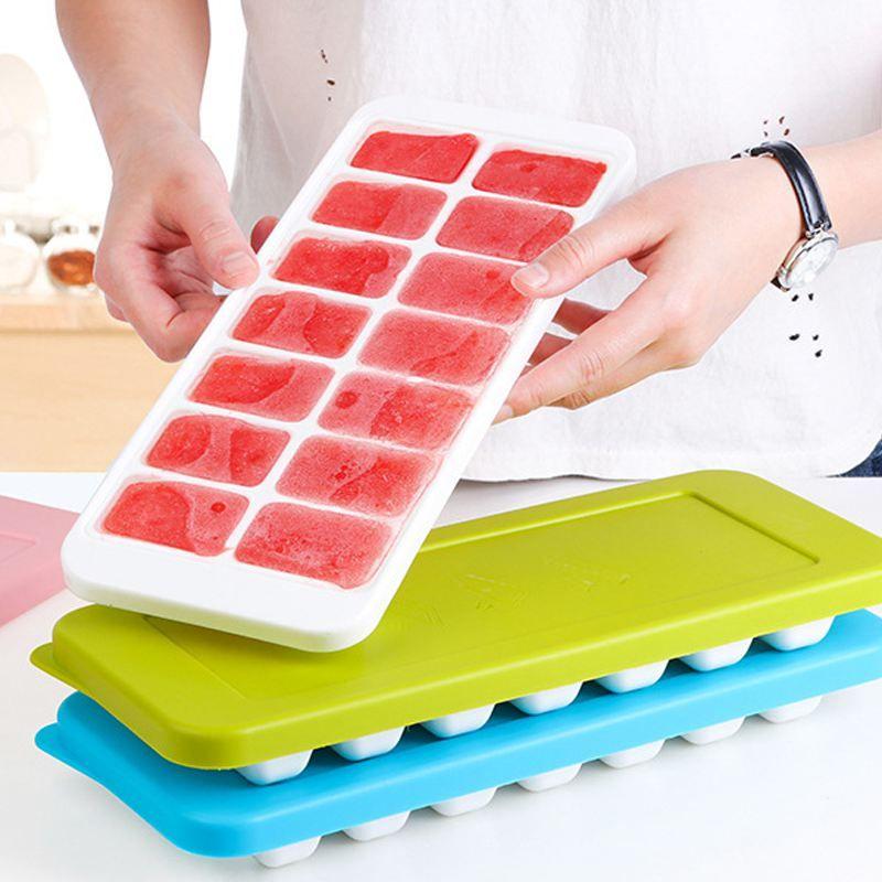 Facile Stampa Forme per il ghiaccio in silicone con coperchi spill-resistant, 14 Cubi sagomati ognuno con copertura, gomma flessibile ghiaccio Stampi per Whiskey,