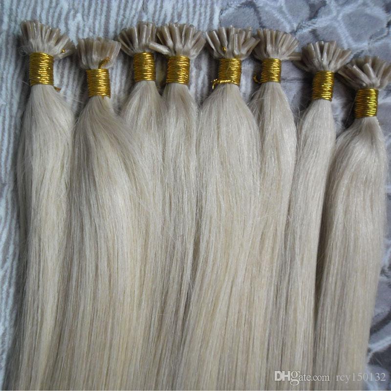 U Dica Extensões Cabelo Liso 100g Fusão extensões de cabelo máquina reta Feito Remy queratina Bonded Cabelo Humano