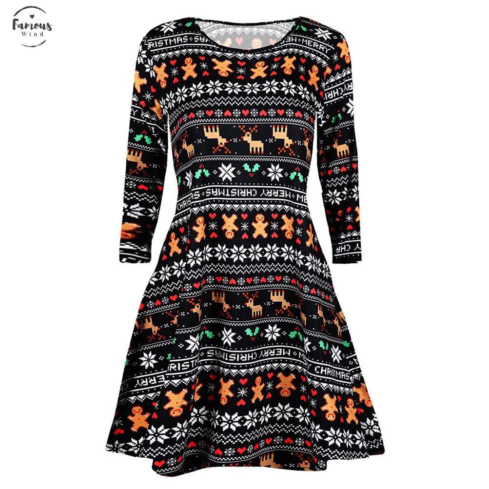Robe De Noël 2020 Femmes Casual Manches Longues Vintage De Noël Imprimé Robe Femmes Plus La Taille Robe Ras Du Cou Sukienka Damska