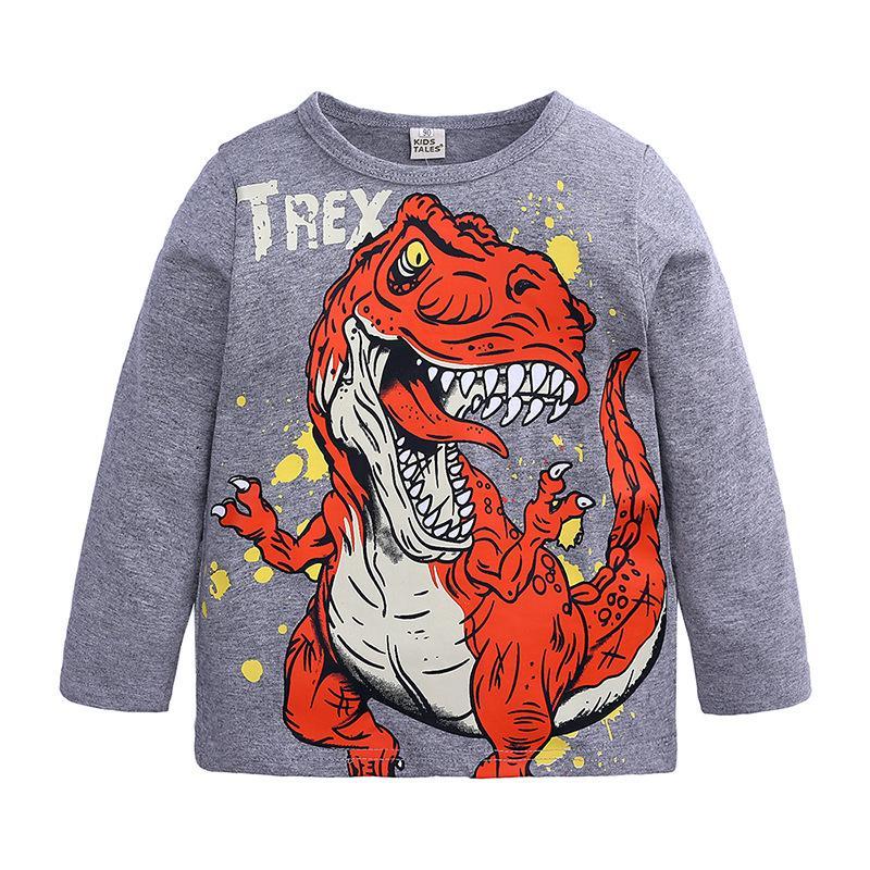 Enfants T-Shirt Manche Courte Col Rond Pull Cartoon Dinosaure Tops Vêtement Mode